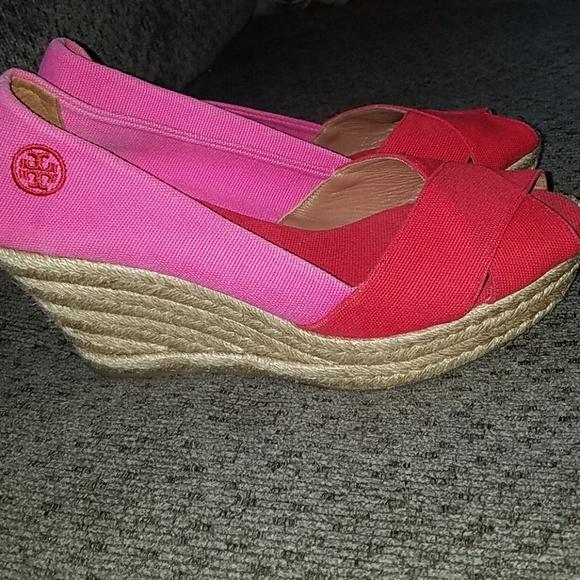 e3a3a6fa392 Tory Burch Espadrille pink red 7.5 platform shoe